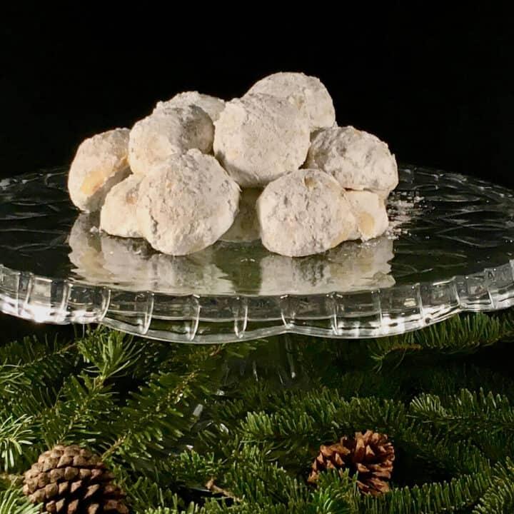 Pecan snowballs on cake stand square