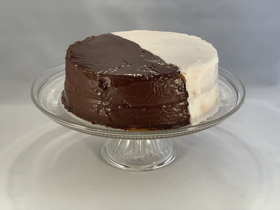 Black and White Cookie Cake whole on cake stand