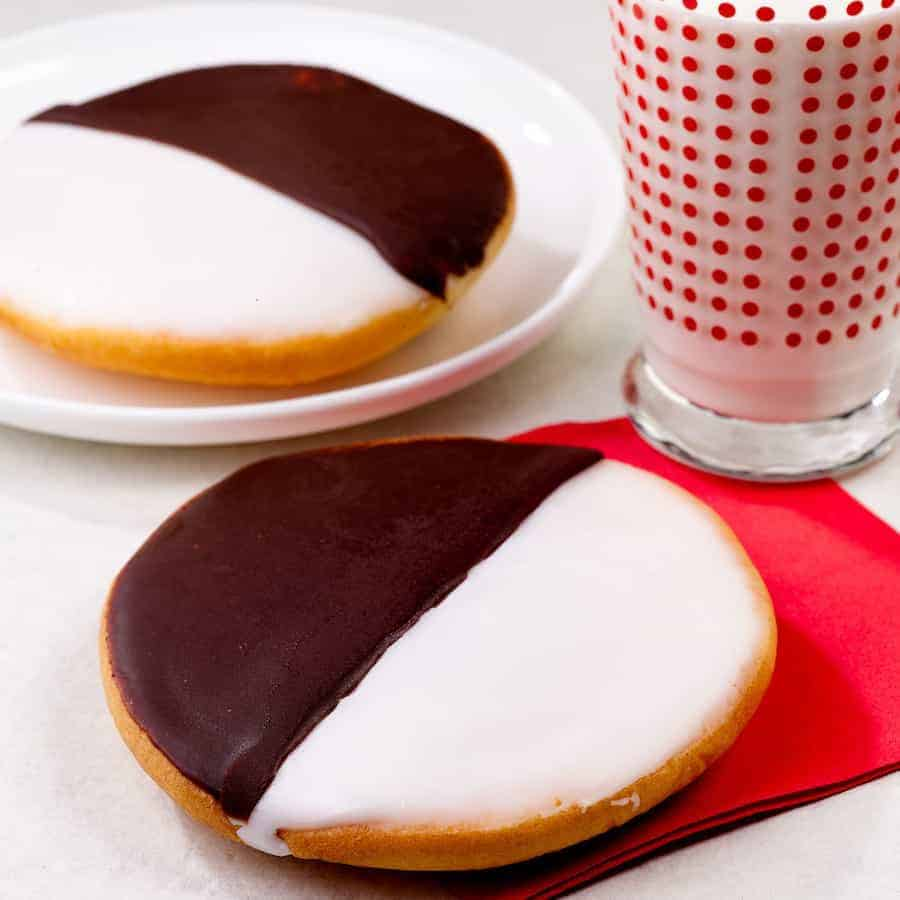 Black and White cookies plated
