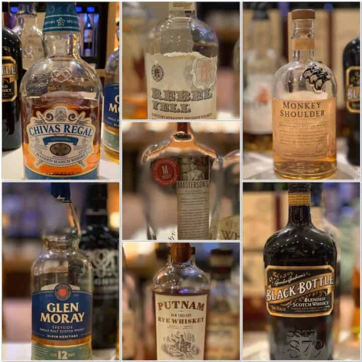 Collage of scotch bourbon, and rye whiskey bottles on a counter.