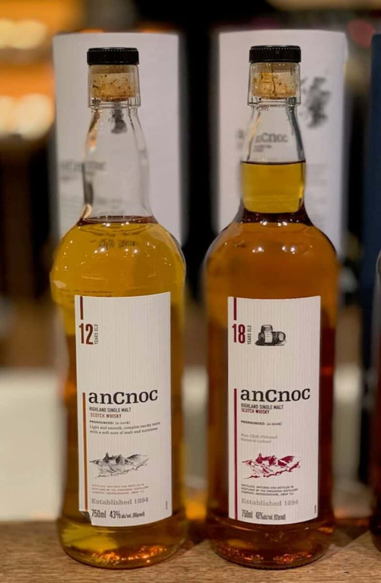 AnCnoc Highland Single Malt 12yr & 18yr in bottles