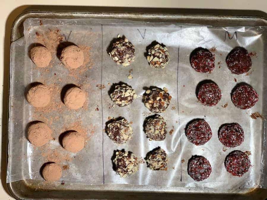 Easy Dark Chocolate Truffles, separating the different flavors