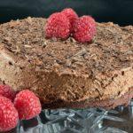 Mini chocolate mousse cake stand closeup
