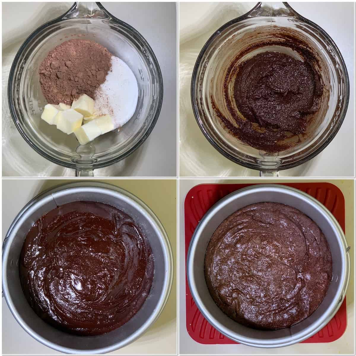 Mini chocolate mousse cake brownie layer process