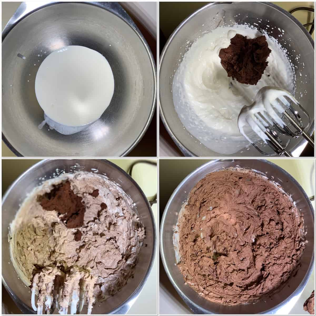 Mini chocolate mousse cake mousse layer process - whipped cream