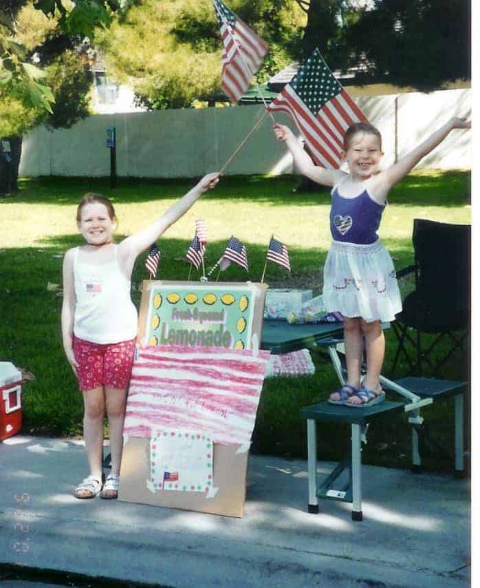 Our lemonade stand to raise money for the Red Cross after 9/11