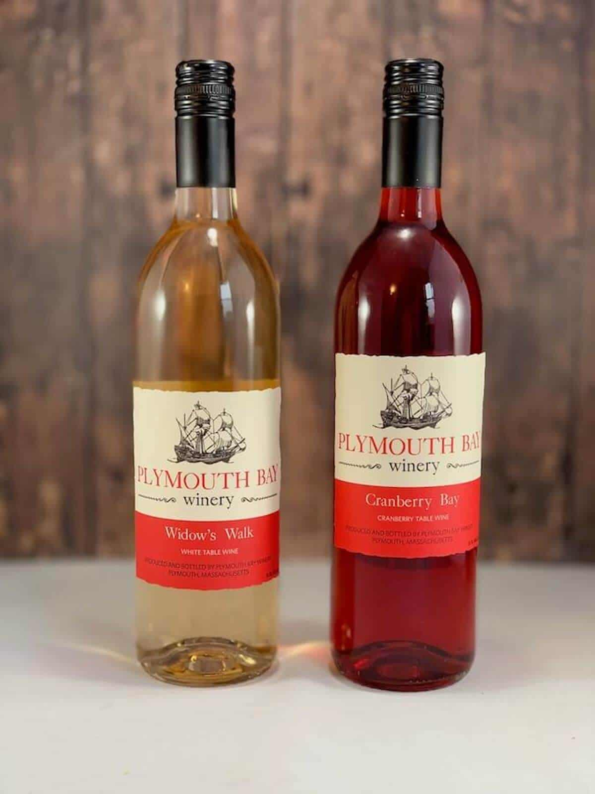 Plymouth Bay Winery Widow's Walk table wine and Cranberry Bay table wine in bottles