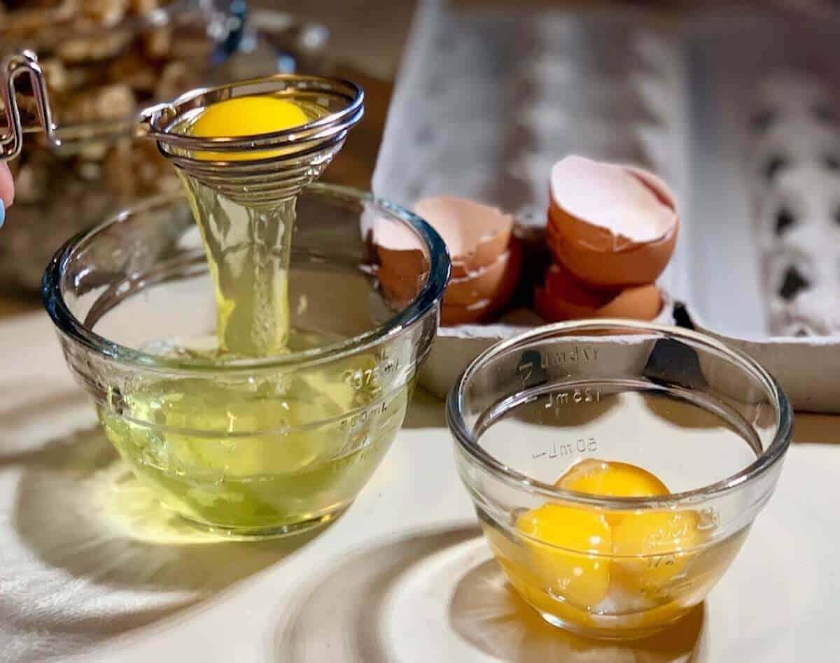 separating eggs using an egg separator