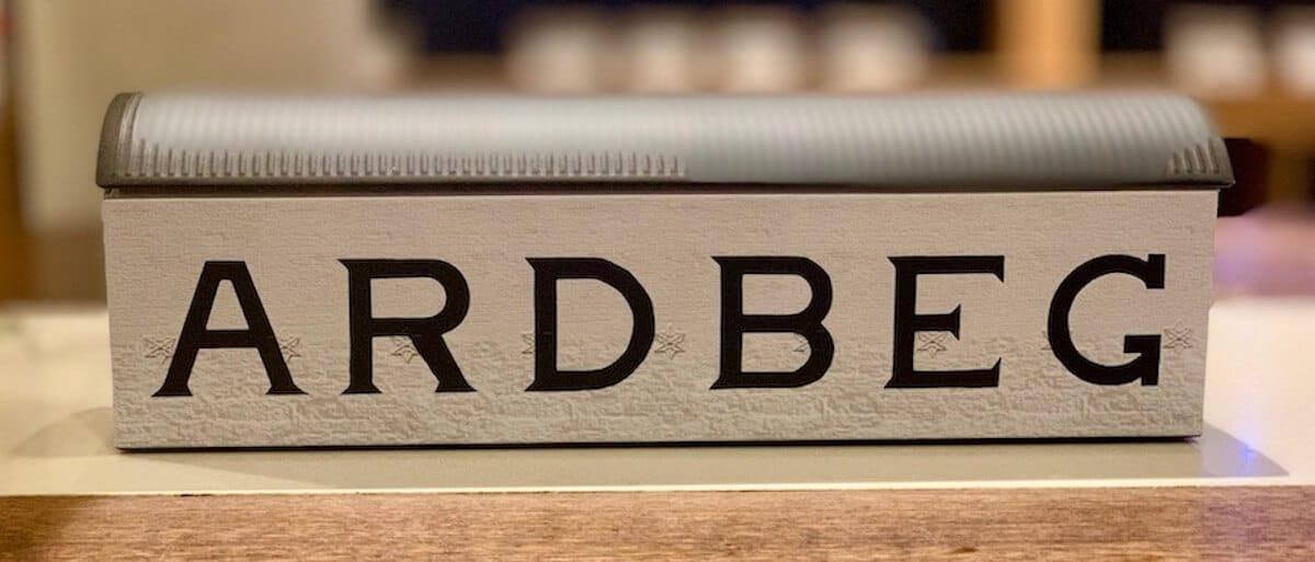 Ardbeg warehouse model on a counter.