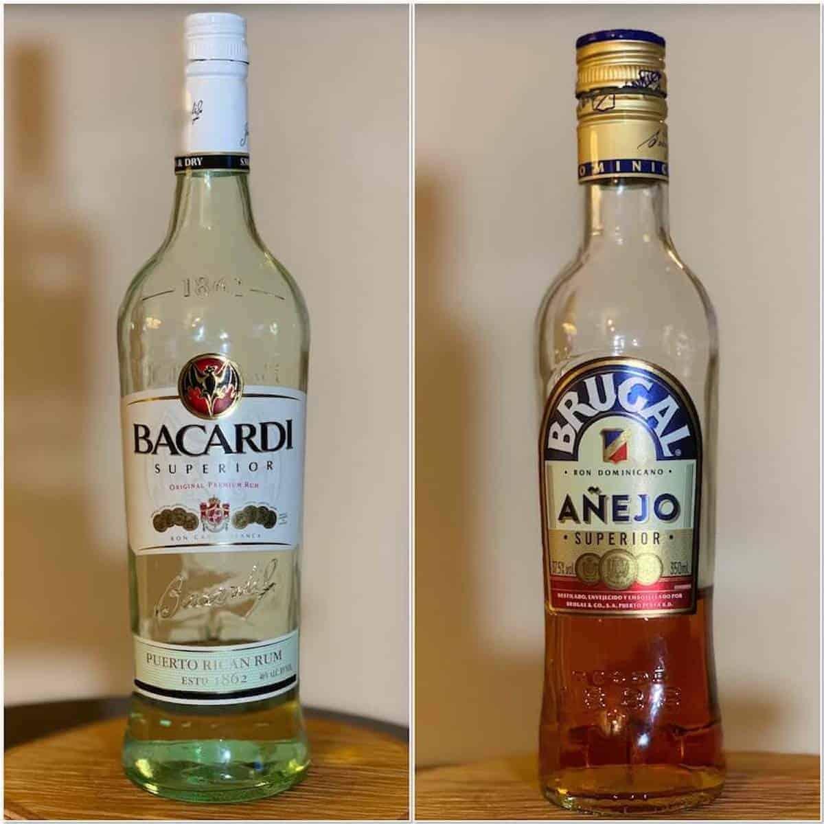 Bacardi Rum, Brugal Rum in bottles collage