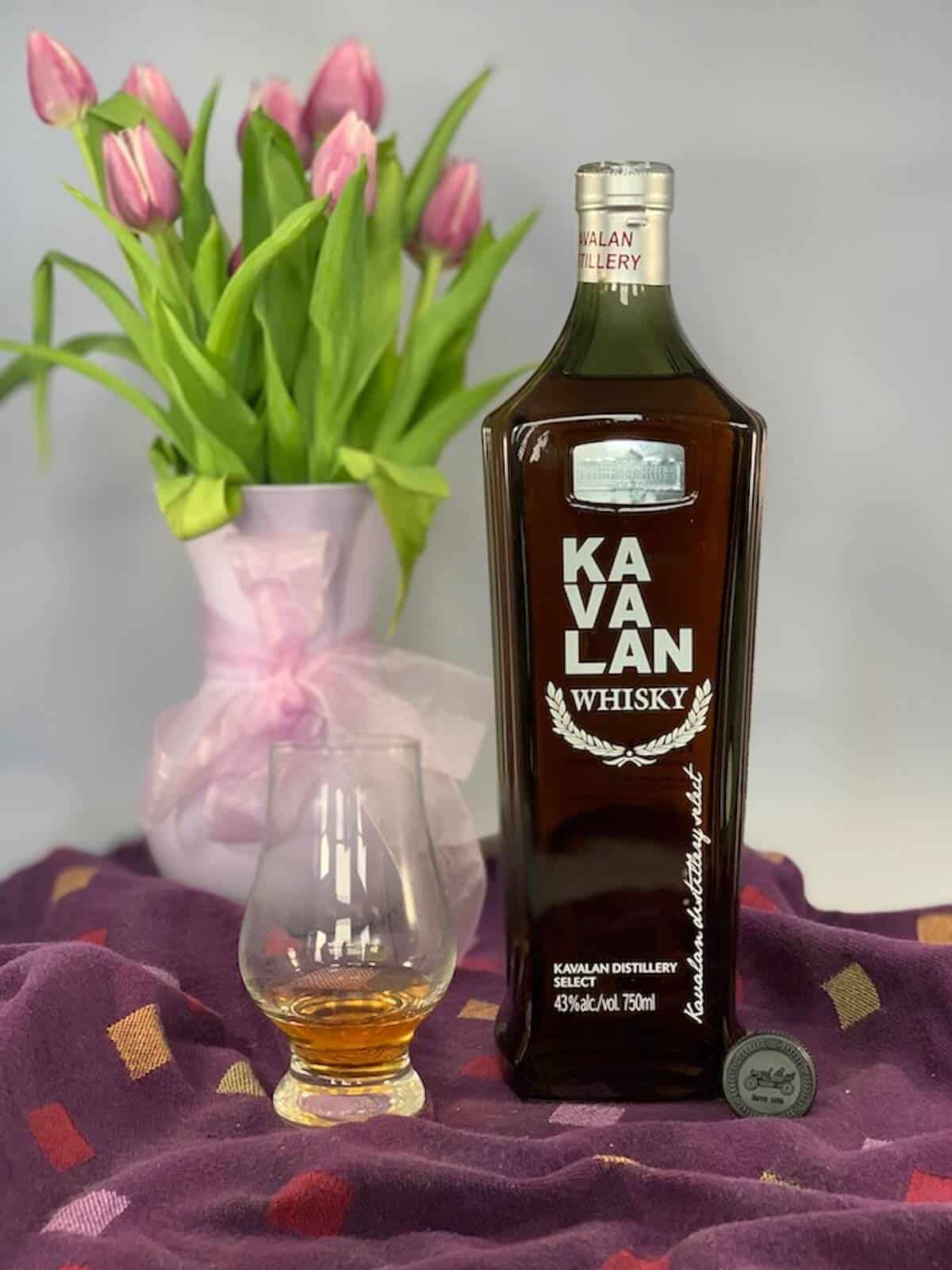 Kavalan Whisky in bottle with poured glass