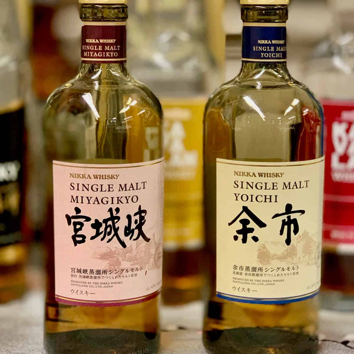 Nikka Single Malt Miyagikyo & YoIchi in bottles whisky on a table.