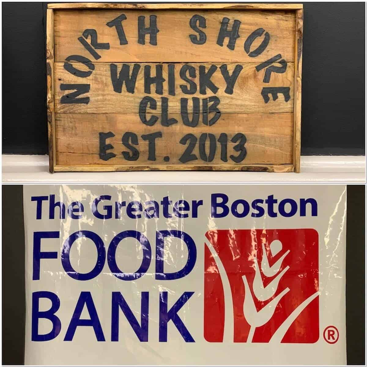 Collage of North Shore Whisky Club & Greater Boston Food Bank banners.