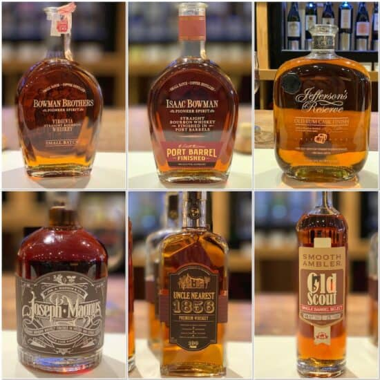 Bowman Brothers, Jefferson's Reserve, Joseph Magnus, Uncle Nearest, Smooth Ambler all in bottles
