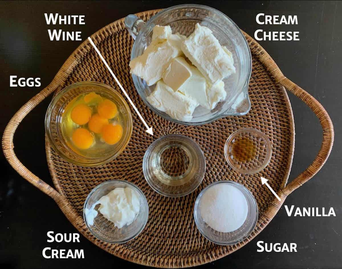 White Wine cheesecake filling ingredients