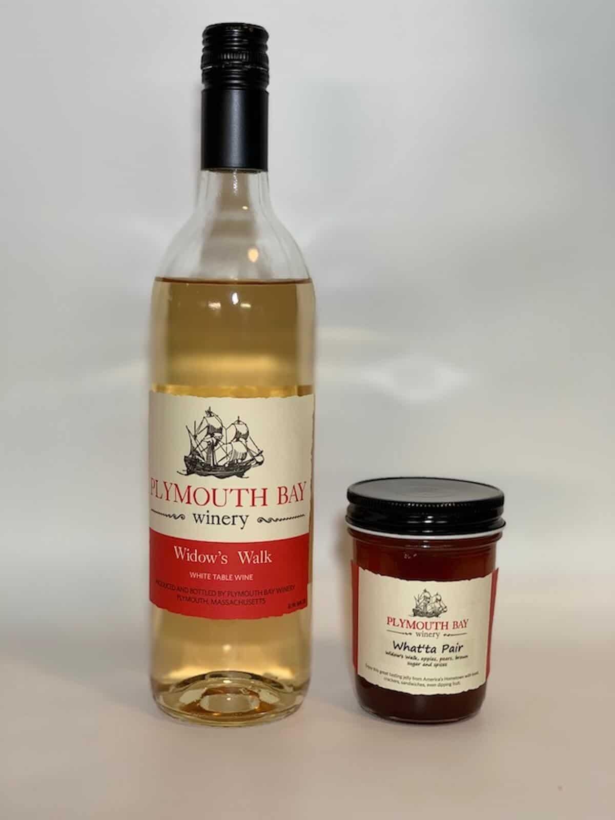 Plymouth Bay Winery Widow's Walk wine with What'ta Pair jam