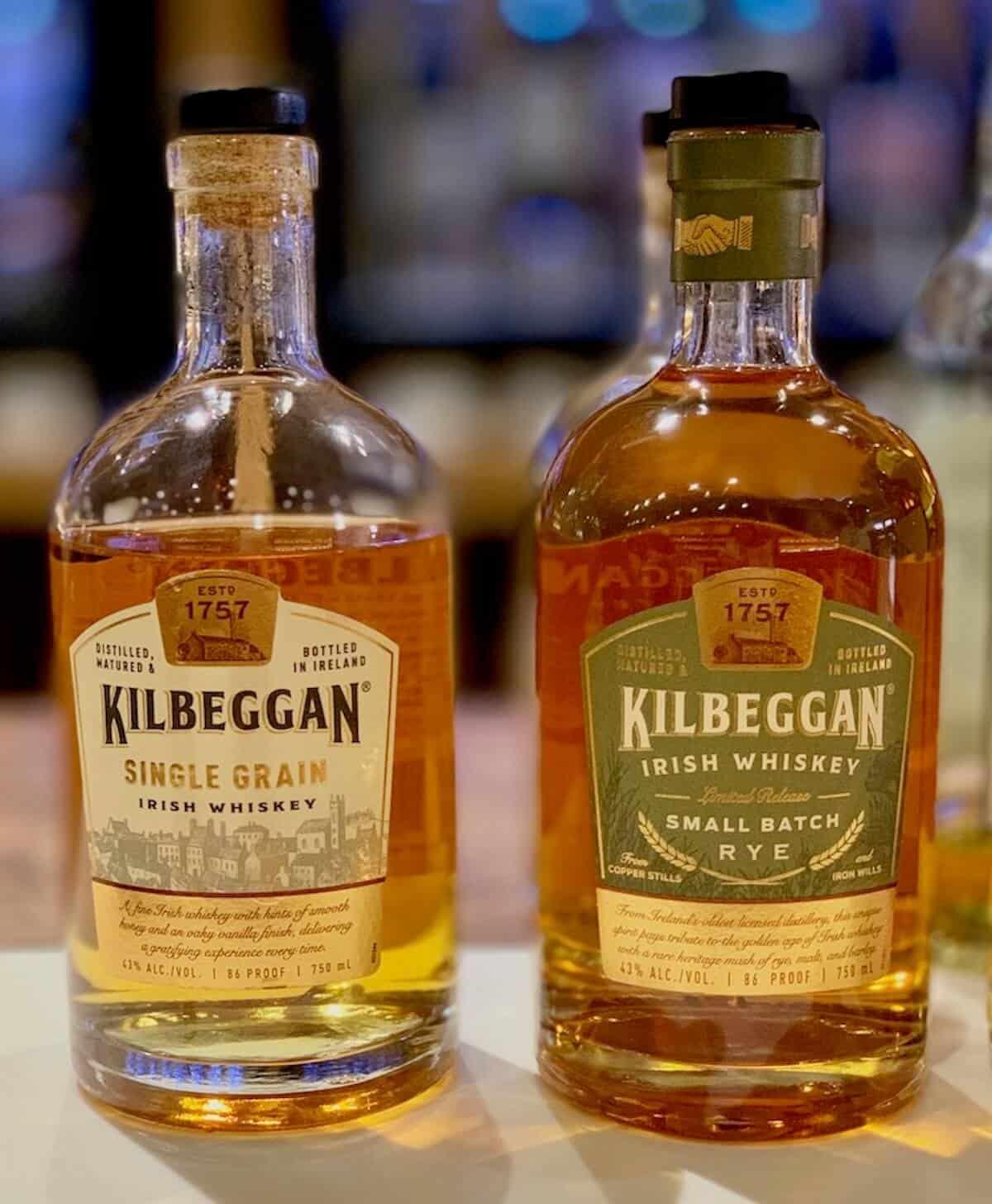 Kilbeggan Irish Whiskey in bottles