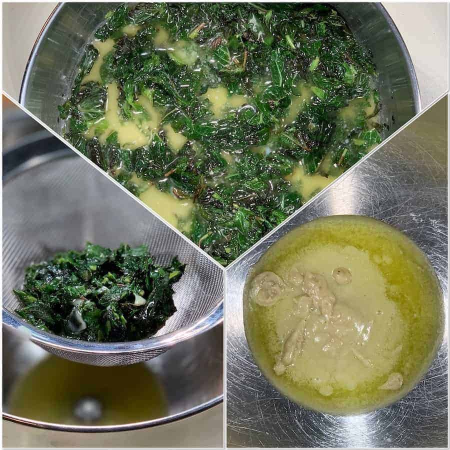 Steeping mint into butter process collage