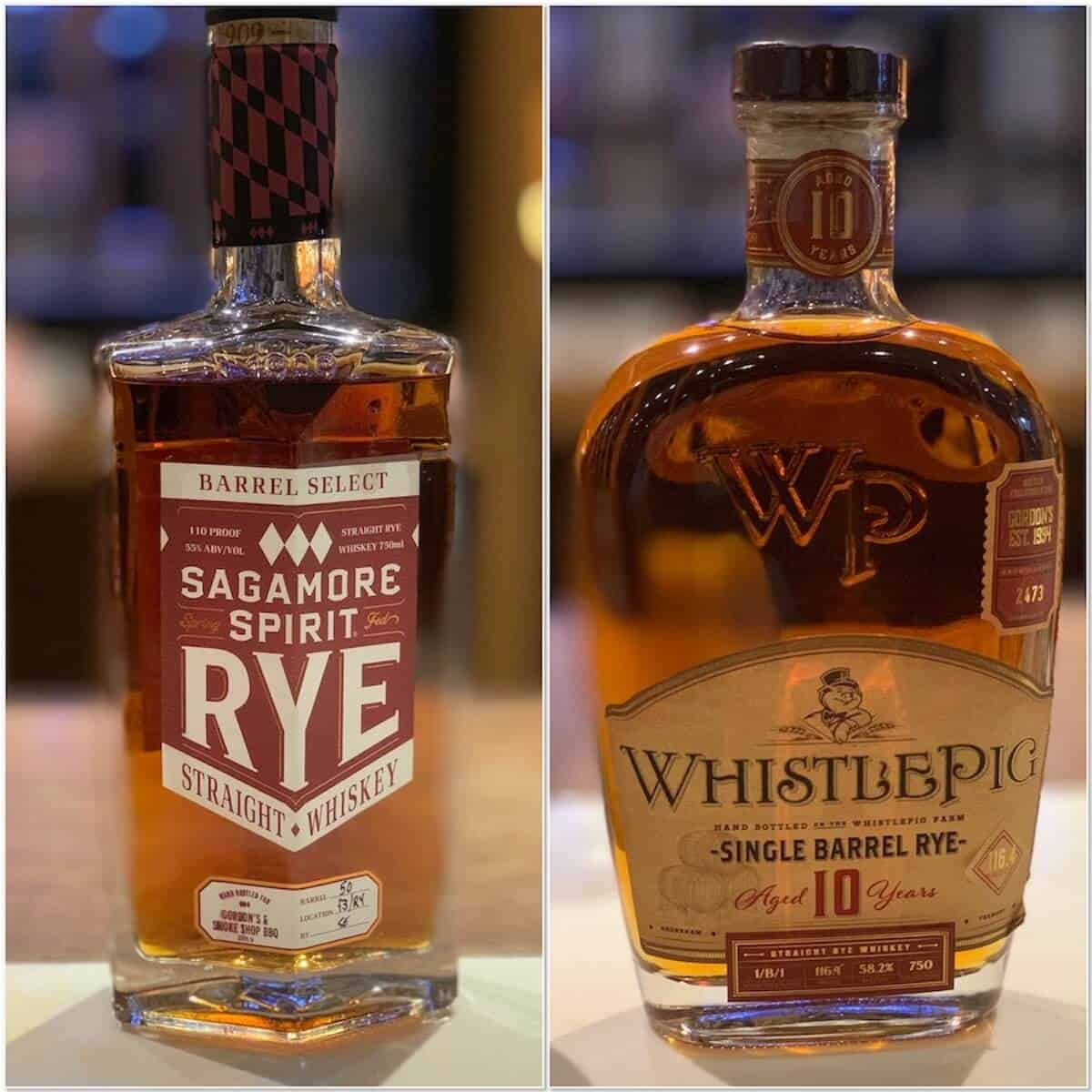 Gordon's Single Barrel Selections, Sagamore Rye, WhistlePig