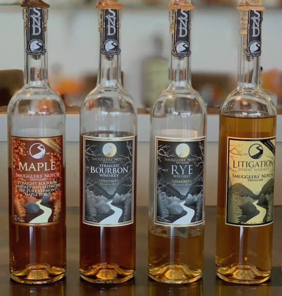 The whiskey lineup from Smugglers' Notch Distillery