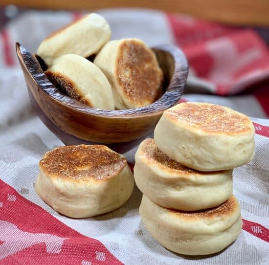 Sourdough English Muffins stacked