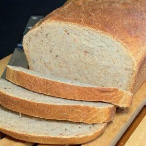 Sourdough Rye Sandwich Bread closeup sliced