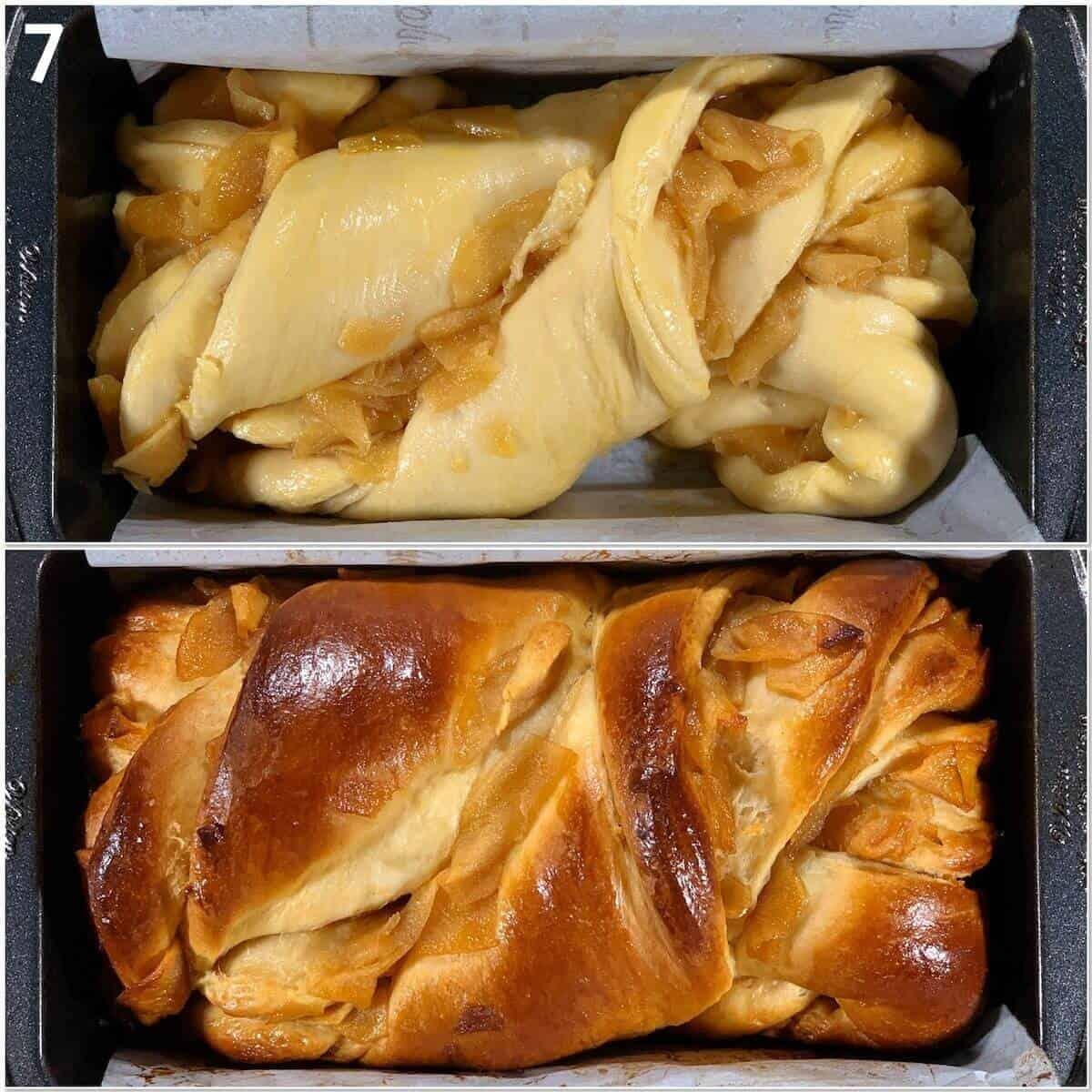 Collage of Apples & Honey babka before & after baking.