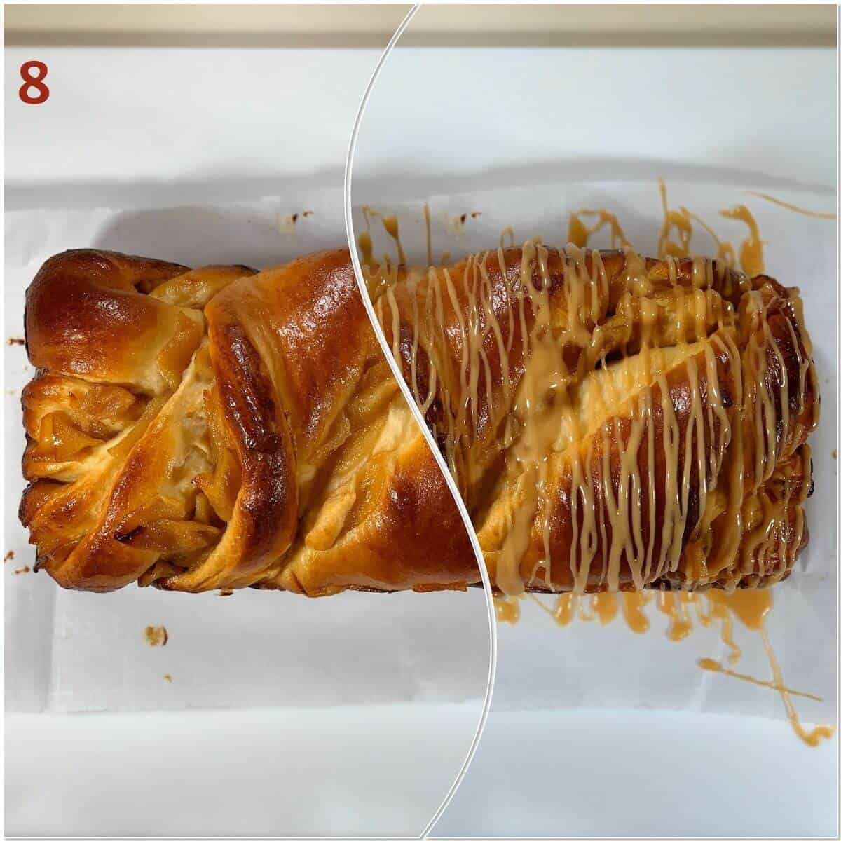 Collage of Apples & Honey Babka before and after glazing.