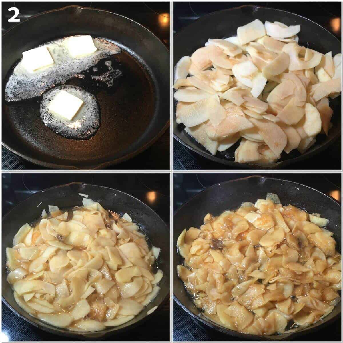 Collage of cooking down the apples in butter, boiled cider, and honey.