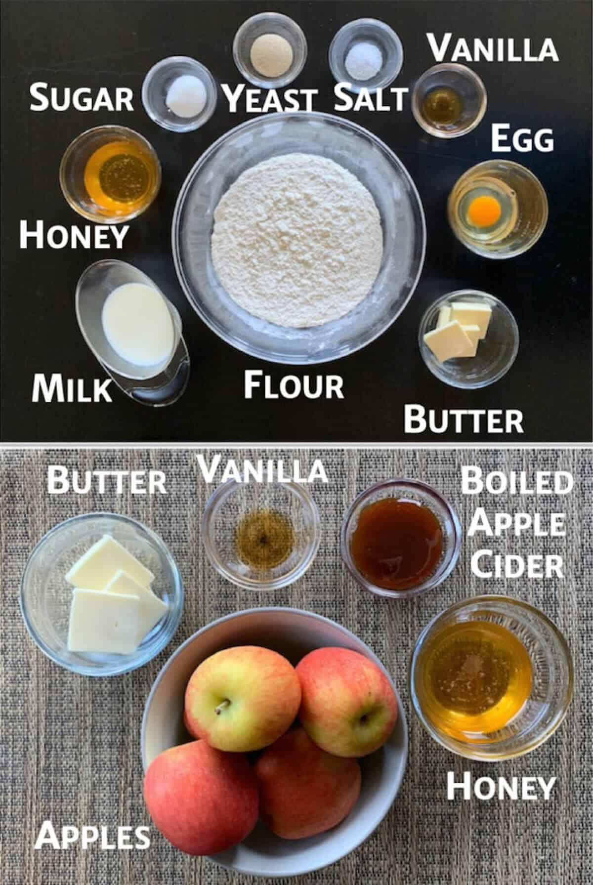 Collage of ingredients for babka and apple glaze in glass bowls on a table.