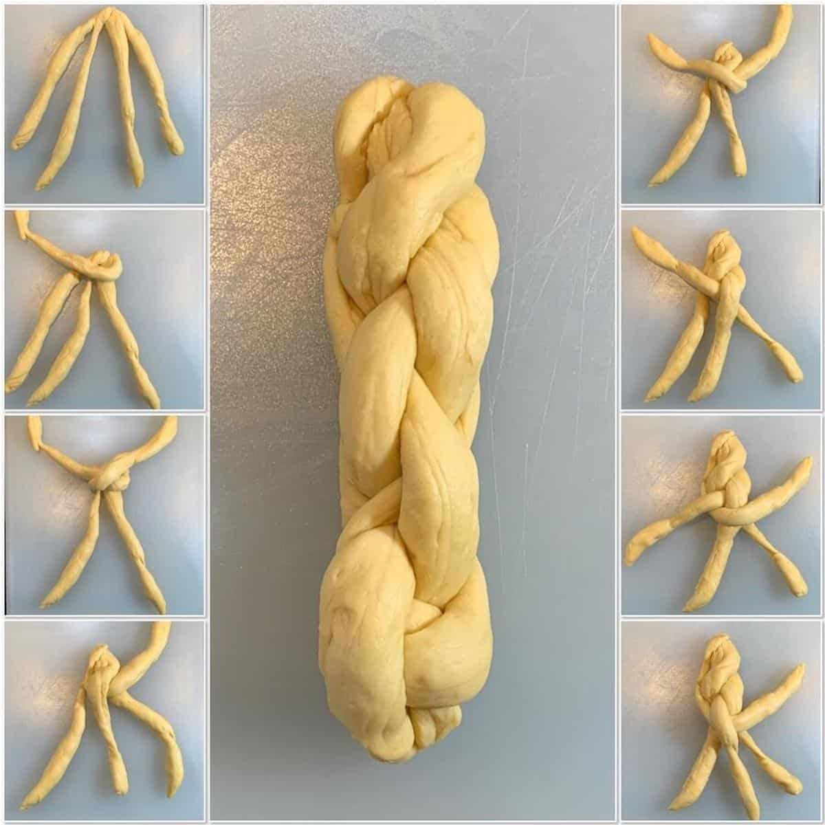 shaping 4 strand braided oblong challah collage
