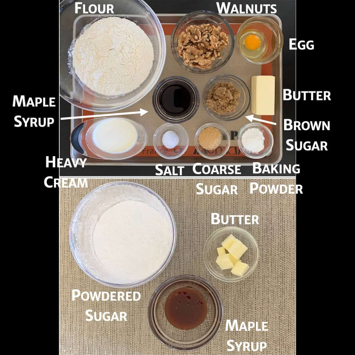 Collage of maple walnut scone dough and glaze ingredients portioned in glass bowls from overhead.