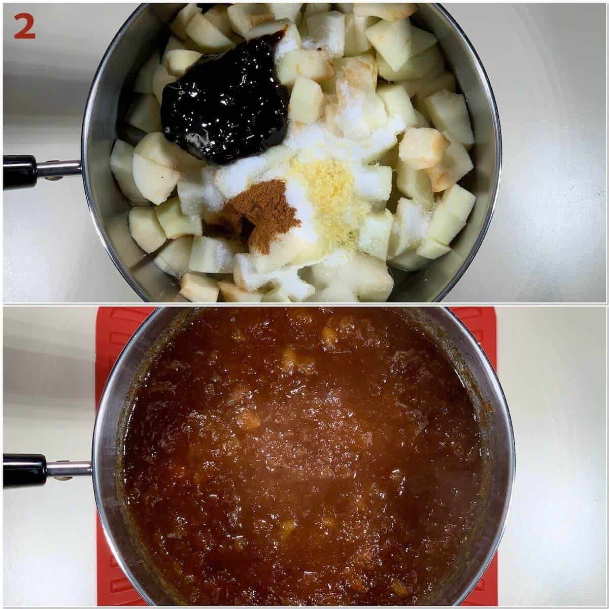 Collage of making applesauce in a saucepan.