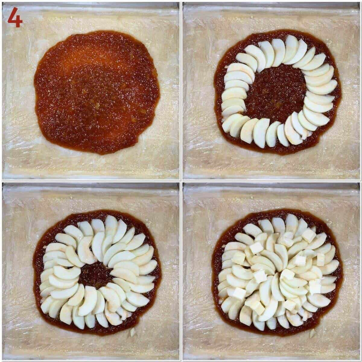 Collage of placing the applesauce & apples on the phyllo dough.