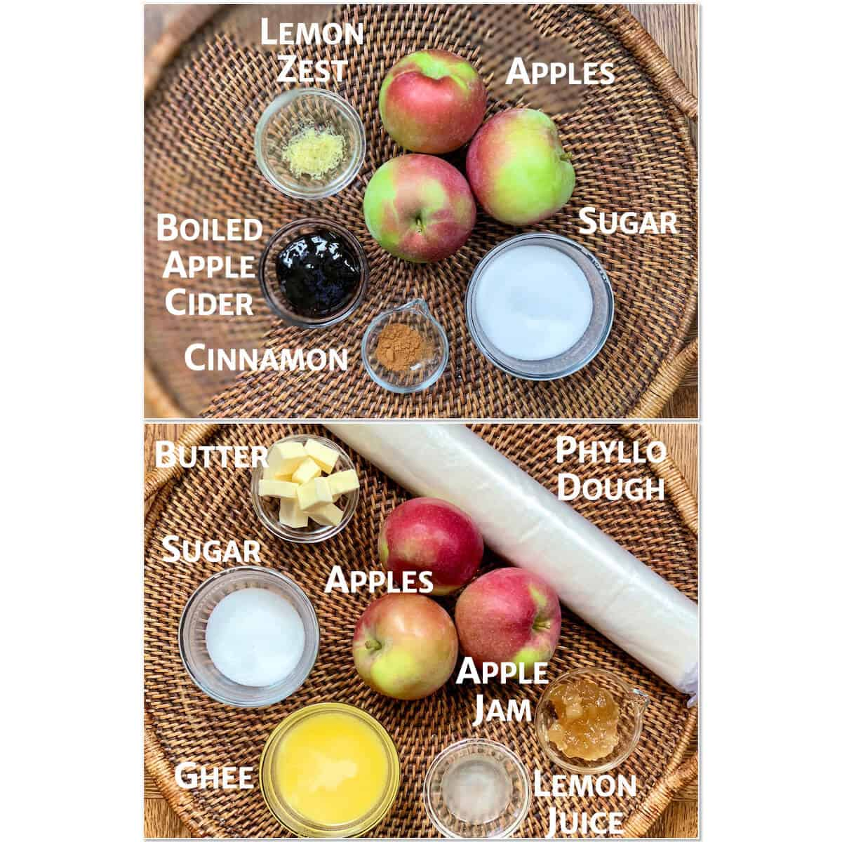 Collage of ingredients portioned into glass bowls on a wooden tray for applesauce and apple galette.