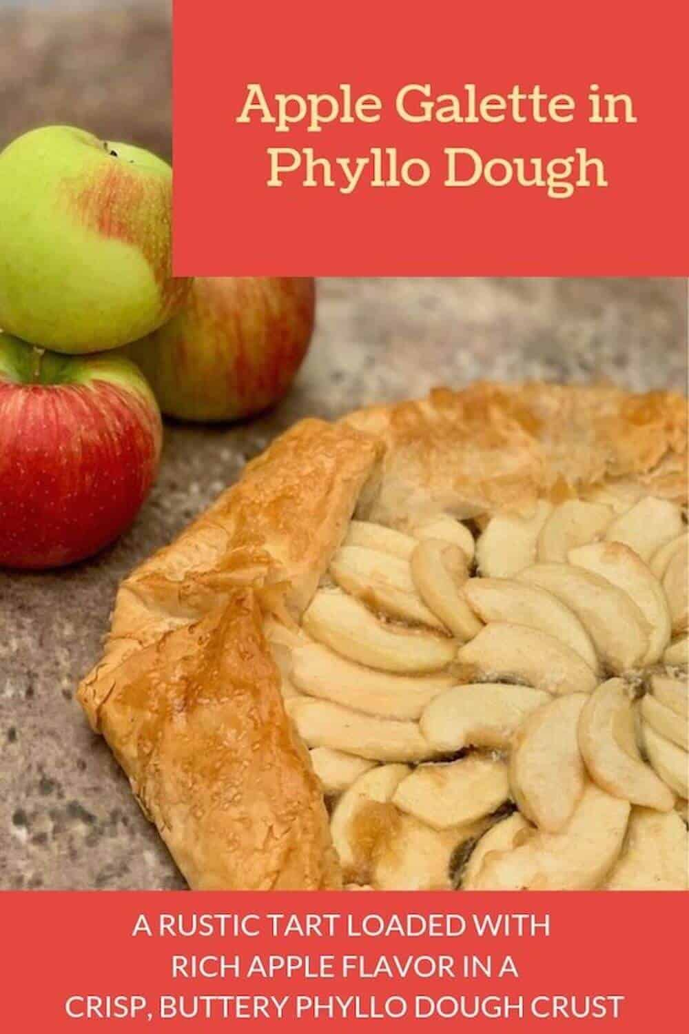apple galette in phyllo dough closeup Pinterest banner