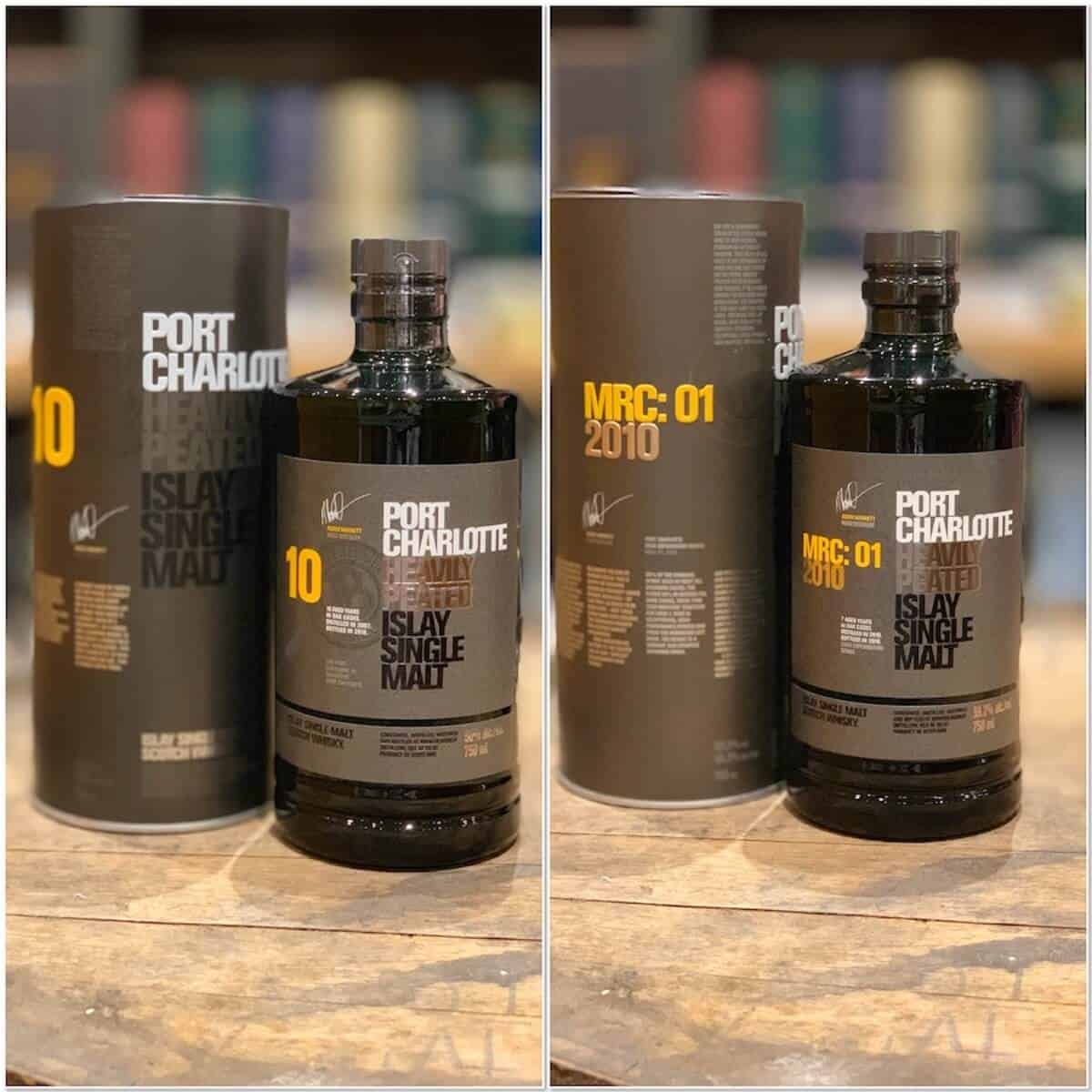 two Port Charlotte heavily peated new released in bottles