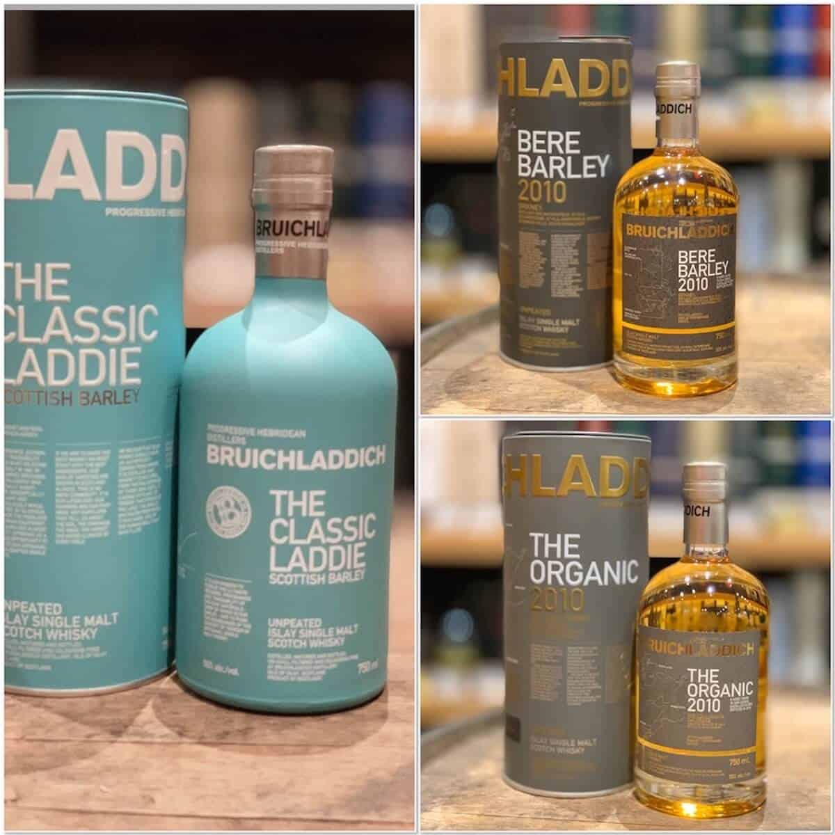 Bruichladdich Classic, Bere Barley, and Organic in bottles