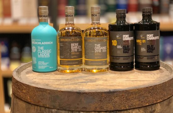 Bruichladdich unpeated and Port Charlotte heavily peated lineup