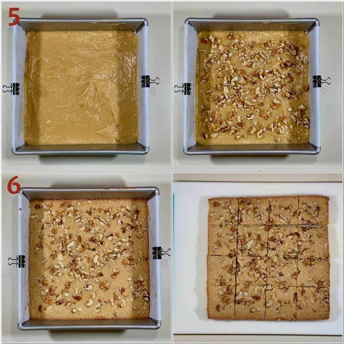Collage of Maple Walnut Bourbon Blondies before & after baking.
