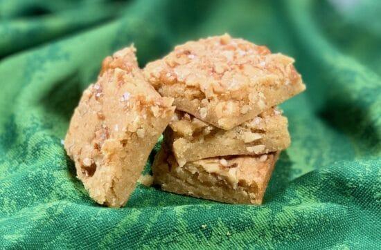 Maple Walnut Bourbon Blondies stacked