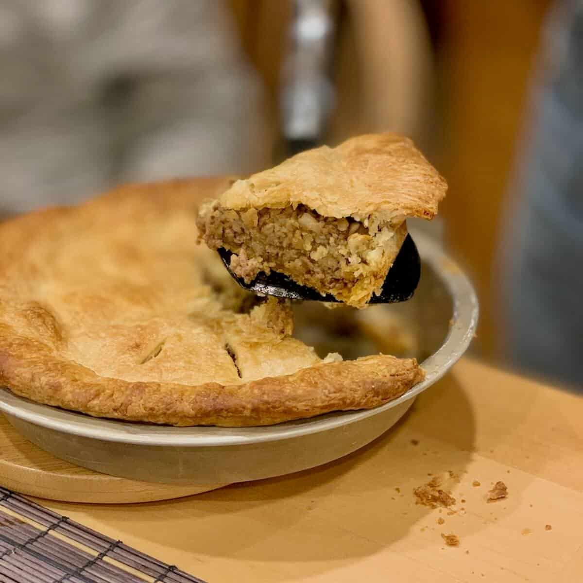Morrocan Beef Pie slice lifted from pan