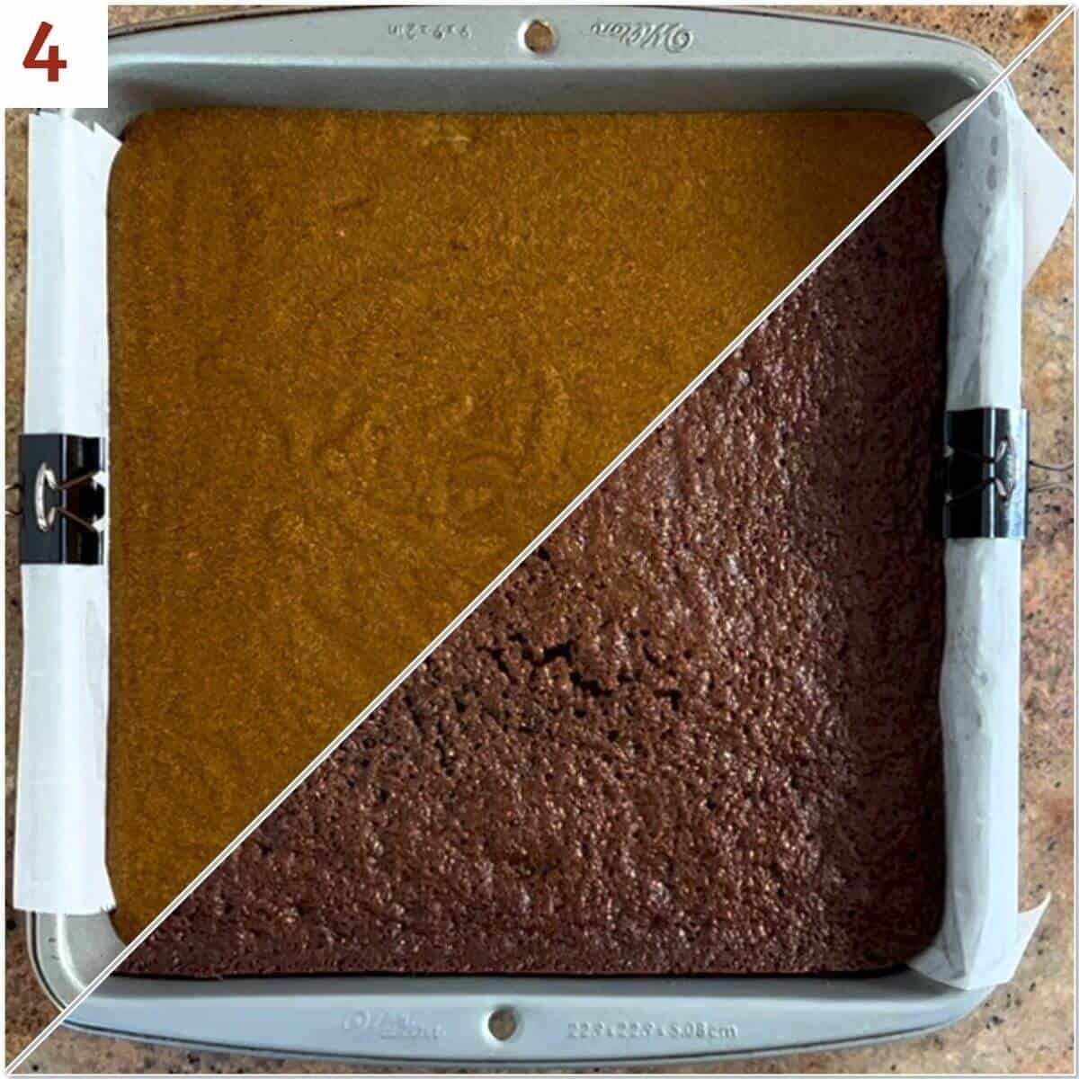 Collage of sourdough gingerbread in a baking pan before and after baking.