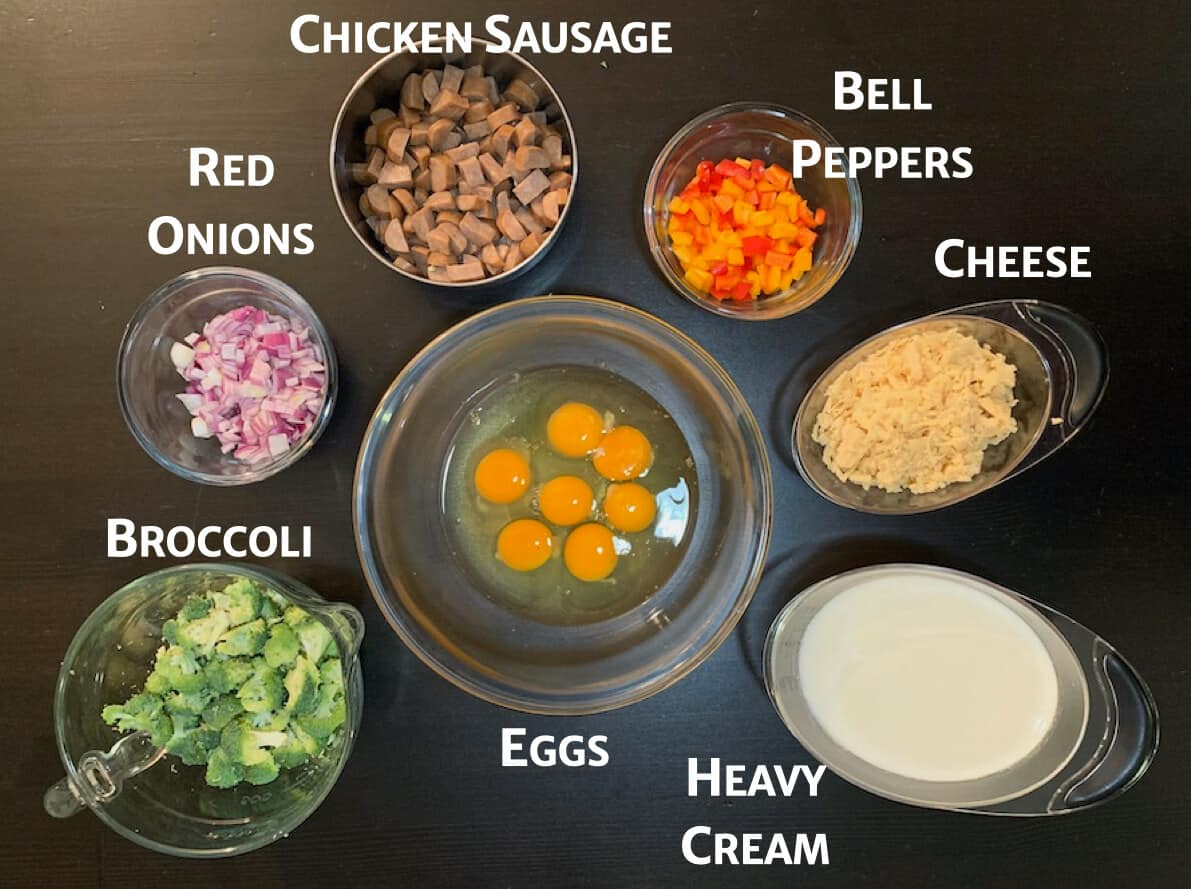 Chicken Sausage & Broccoli crustless quiche ingredients
