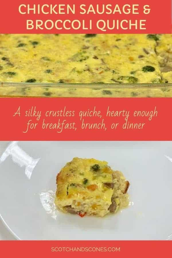 Chicken Sausage & Broccoli Quiche Pinterest Banner