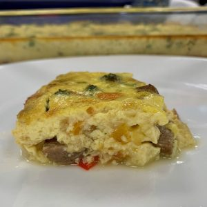 Chicken Sausage & Broccoli crustless quiche plated slice closeup