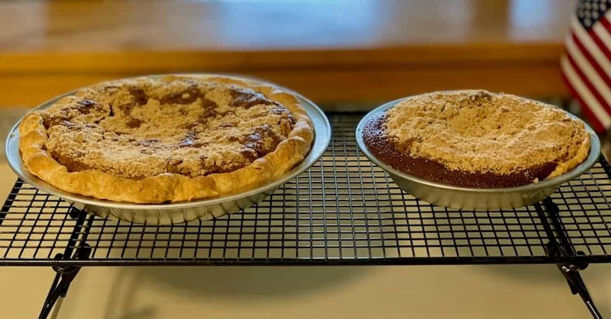 regular size and mini Shoofly pies on a cooling rack