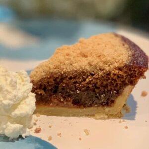 mini shoofly pie slice plated closeup