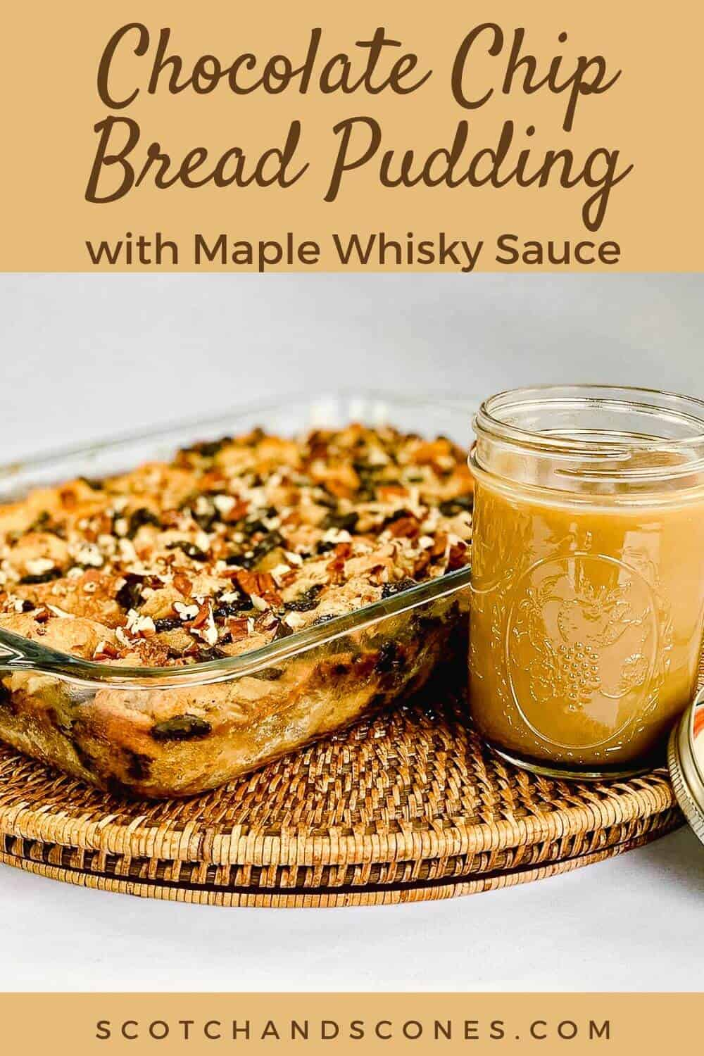 Chocolate Chip Bread Pudding finished with sauce Pinterest Banner