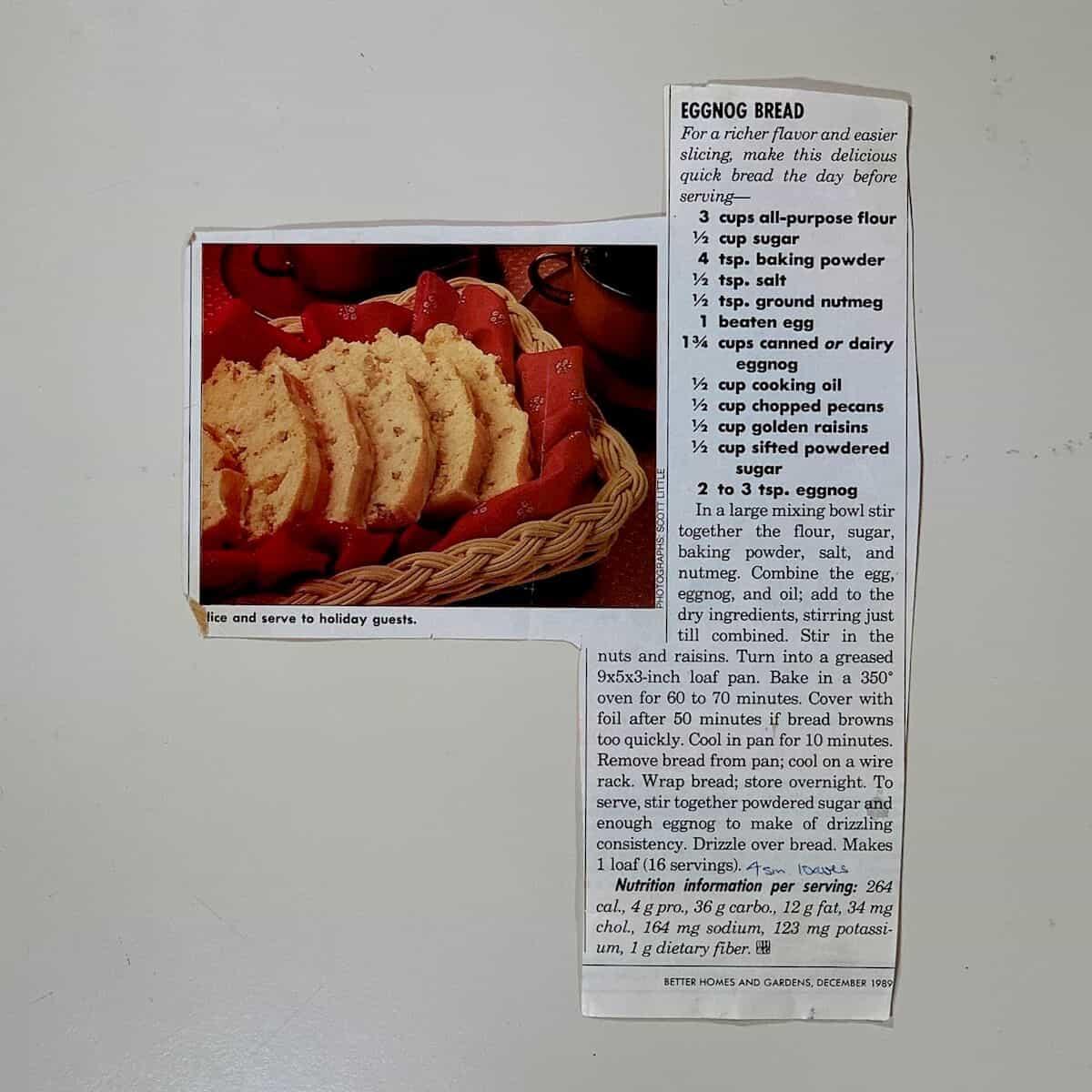 original printed Better Homes & Gardens Eggnog Bread recipe